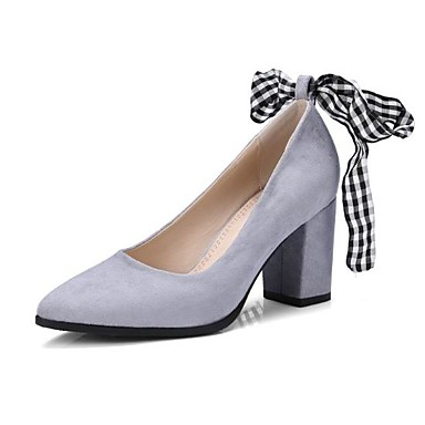 11595968c3f Women s Suede Spring   Fall Comfort Heels Chunky Heel Pointed Toe Bowknot  Black   Gray   Pink 6775498 2019 –  44.99