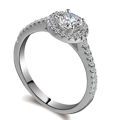 billige Motering-Dame Ring 1pc Sølv Platin Belagt Fuskediamant Hvitt gull Sirkelformet damer Romantikk Mote Bryllup Gave Smykker Elegant HALO Gypsophila Puls Søtt