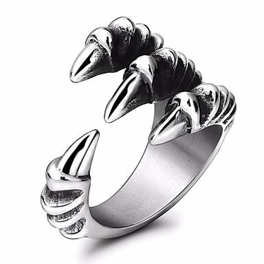 levne Pánské šperky-Pánské Vyzvánění Tail Ring obalovací kroužek 1ks Stříbrná Titanová ocel Kulatý Geometric Shape Prohlášení stylové Plesová maškaráda Festival Šperky Stylové Drak Cool