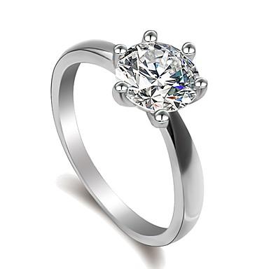 billige Motering-Dame Ring Micro Pave Ring 1pc Sølv Messing Platin Belagt Fuskediamant Seks tenger damer Klassisk Mote Bryllup Engasjement Smykker Solitaire simulert Kjærlighed Mot Smuk