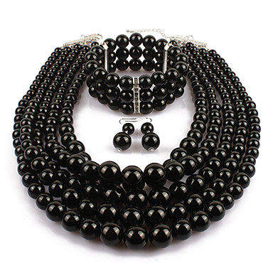 cheap Jewelry Sets-Women's Pearl Jewelry Set Drop Earrings Pearl Strands Layered Statement Ladies Asian Elegant Imitation Pearl Earrings Jewelry Black / Wine / Grey For Casual Evening Party 1 set / Pearl Necklace