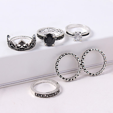 billige Ring Set-Dame Ring Set Midiringe Stable Ringer 6pcs Sølv Strass Legering Rund damer Vintage Europeisk Avslappet Daglig Smykker Elegant Krone