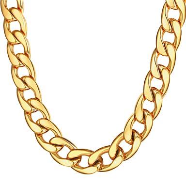 levne Dámské šperky-Pánské Řetízky Silný řetězec Námořní řetěz Nadsázka Módní Dubaj Hip Hop Nerez Černá Zlatá Stříbrná 55 cm Náhrdelníky Šperky 1ks Pro Dar Denní