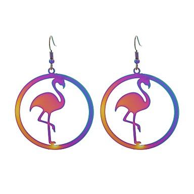 povoljno Modne naušnice-Žene Viseće naušnice Flamingo dame Luksuz Stil tetovaže Anime Tikovina Naušnice Jewelry Duga Za Dar Večer stranka 1 par