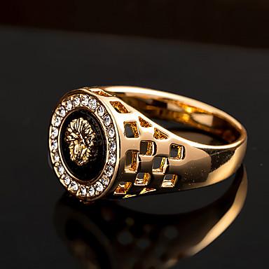 levne Pánské šperky-Pánské Vyzvánění Pečetní prsten Syntetický diamant Stříbrná Zlatá Zirkon Slitina Přizpůsobeno Luxus Armáda Párty Dar Šperky Ryté HALO Lev King Zvíře