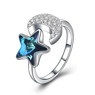 billige Motering-Dame Åpne Ring vikle ring Krystall 1pc Hvit S925 Sterling Sølv Geometrisk Form damer Mote Fest Daglig Smykker Tau Smuk