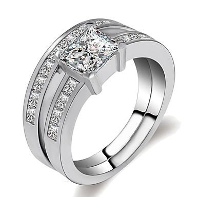 billige Motering-Dame Ring Set 2pcs Sølv Messing Platin Belagt Fuskediamant damer Klassisk Romantikk Gave Aftenselskap Smykker Multi Layer Elegant Krone Forestill deg Kul Smuk