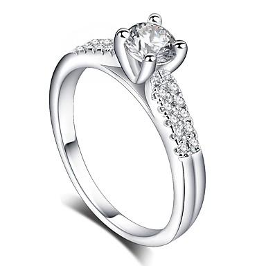 levne Dámské šperky-Dámské Prsten 1ks Stříbrná Mosaz Pokovená platina Umělé diamanty Čtyřzubec dámy Romantické Módní Svatební Dar Šperky Stylové HALO láska Radost Roztomilý