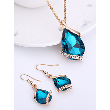 cheap Crystal Jewelry Sets-Women's Sapphire Crystal Jewelry Set Drop Earrings Pendant Necklace Pear Cut Solitaire Drop Ladies Fashion Elegant Rose Gold Crystal Rhinestone Earrings Jewelry Red / Green / Blue For Wedding Party
