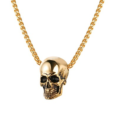 cheap Pendant Necklaces-Men's Pendant Necklace Rope Foxtail chain Mexican Sugar Skull Skull Fashion Satanic Stainless Steel Black Gold Silver 55 cm Necklace Jewelry 1pc For Gift Street