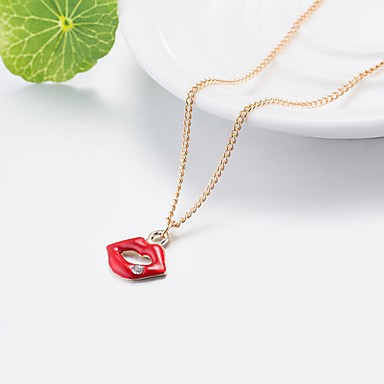 povoljno Modne ogrlice-Žene Ogrlice s privjeskom 3D Tipke Usne dame Klasik Osnovni Umjetno drago kamenje Legura Crvena 55 cm Ogrlice Jewelry 1pc Za Dnevno Ulica