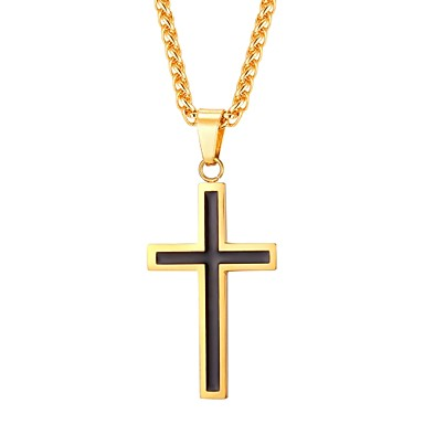 cheap Necklaces-Men's Pendant Necklace Rope franco chain Cross Dangling Stainless Steel Rose Gold Black Gold Silver 55 cm Necklace Jewelry 1pc For Gift Daily