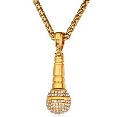 povoljno Modne ogrlice-Muškarci Kubični Zirconia Ogrlice s privjeskom Uže Moda Hip-hop Hip Hop Tikovina Zlato Pink 55 cm Ogrlice Jewelry 1pc Za Dar Dnevno