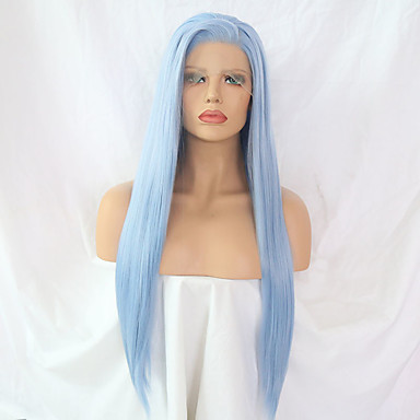 cheap Synthetic Lace Wigs-Synthetic Lace Front Wig Straight Side Part Lace Front Wig Long Light Blue Synthetic Hair 24 inch Women's Adjustable Heat Resistant Women Blue