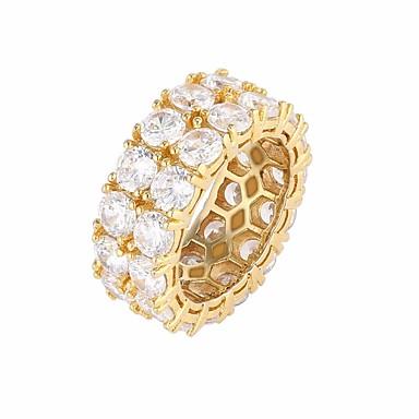 levne Pánské šperky-Pánské Prsten Kubický zirkon 1ks Zlatá Stříbrná Měď Štras Kulatý stylové Luxus Evropský Svatební Dar Šperky Stylové Drahocenný Cool