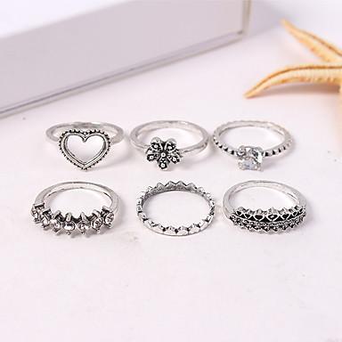 billige Ring Set-Dame Ring Set Midiringe Stable Ringer 6pcs Sølv Legering damer Vintage Europeisk Avslappet Daglig Smykker Retro Hjerte Blomst