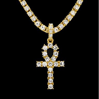 levne Dámské šperky-Pánské High End Crystal Obojkové náhrdelníky Náhrdelníky s přívěšky Náhrdelník Silný řetězec Tenisový řetězec Klapky Víra Módní Hip-hop Starověký Egypt Hip Hop Štras Slitina Zlatá Černá Stříbrná 61 cm