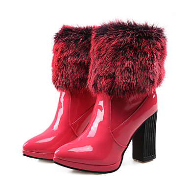 99dd21be30e [$44.99] Women's PU(Polyurethane) Fall & Winter Fashion Boots / Bootie  Boots Chunky Heel Pointed Toe Mid-Calf Boots Feather Black / Red / Party &  ...