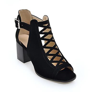 Women s Suede Spring   Summer Gladiator Heels Block Heel Peep Toe Booties    Ankle Boots Button Black   Army Green   Khaki   Daily 6779379 2019 –  36.79 ea9aadee6