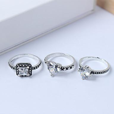 billige Motering-Dame Ring Set Midiringe Stable Ringer 3pcs Sølv Strass Legering Kvadrat damer Enkel Europeisk Daglig Smykker Klassisk Hjerte Heart