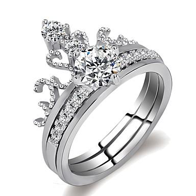 Жен. Стильные Вырезка Ring Set - Платиновое покрытие, Искусственный  бриллиант Корона, драгоценный Дамы d197d1f6b50
