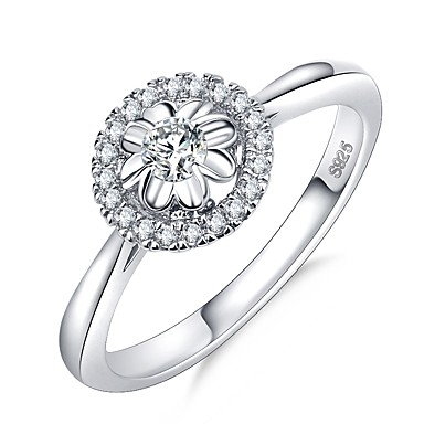 billige Motering-Dame Ring 1pc Sølv Messing Platin Belagt Fuskediamant Sirkelformet damer Romantikk Koreansk Bryllup Engasjement Smykker Klassisk Elegant HALO Blomst Kjærlighed Søtt