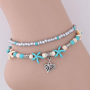 levne Dámské šperky-Dámské kotník náramek šperky na nohy Boncuklar Dvojité Srdce Mořská hvězdice Duté srdce dámy Vintage Dovolená Módní Pryskyřice Nákotník Šperky Modrá Pro Bikini