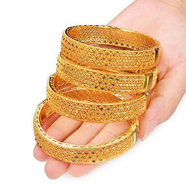 levne Dámské šperky-4ks Dámské Kotníkové náramky Široké náramky Klasika kreativita dámy Luxus Geleneksel Dubaj italština Pozlacené Náramek šperky Žlutá Pro Párty Dar