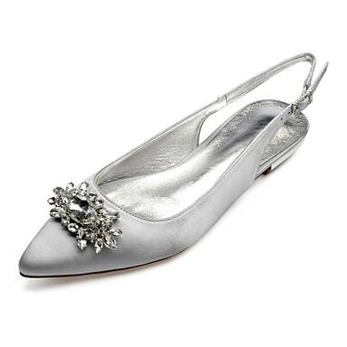 billige Utvalgte tilbud-Dame bryllup sko Flat hæl Spisstå Rhinsten / Gummi Sateng Komfort / Slingback Sko Vår sommer Blå / Lysebrun / Krystall / Bryllup / Fest / aften