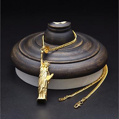 levne Pánské šperky-Pánské Náhrdelníky s přívěšky Řetízky Stylové Kubánský odkaz Naděje Víra stylové umělecké Hip-hop Nerezové Zlatá Stříbrná 60 cm Náhrdelníky Šperky 1ks Pro Dar Street
