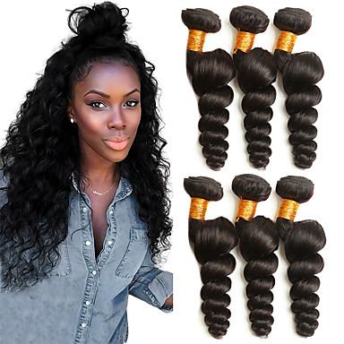 povoljno Ekstenzije za kosu-3 paketa Brazilska kosa Valovita kosa Ljudska kosa Headpiece Ljudske kose plete Produžetak 8-28 inch Crna Prirodna boja Isprepliće ljudske kose Woven Najbolja kvaliteta Rasprodaja Proširenja ljudske