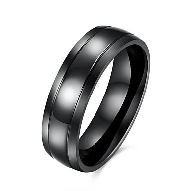 levne Pánské šperky-Pánské Band Ring 1ks Černá Nerezové Circle Shape Jednoduchý Základní Denní Práce Šperky Klasika kreativita Cool