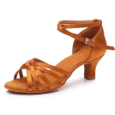 preiswerte Tanzschuhe-Damen Tanzschuhe Satin Schuhe für den lateinamerikanischen Tanz Absätze Kubanischer Absatz Maßfertigung Dunkelbraun / Praxis / EU41