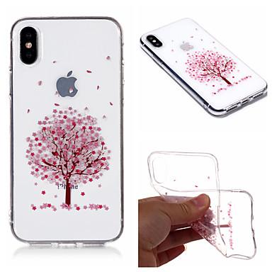 povoljno iPhone maske-Θήκη Za Apple iPhone X / iPhone 8 Plus / iPhone 8 IMD / Prozirno / Uzorak Stražnja maska drvo / Cvijet Mekano TPU