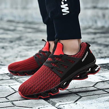cheap Men's Athletic Shoes-Men's Comfort Shoes Summer Sporty Daily Outdoor Trainers / Athletic Shoes Running Shoes / Walking Shoes Tissage Volant Breathable Booties / Ankle Boots Black / Red / Black / Gray Color Block