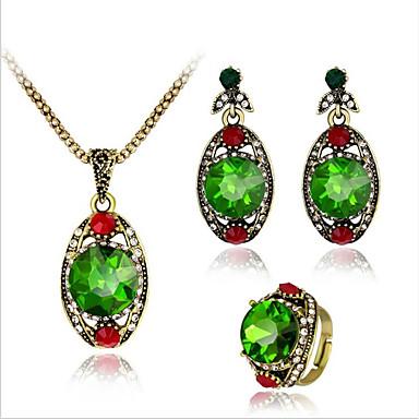 levne Dámské šperky-Dámské Akvamarín Vintage náhrdelník Retro styl Květinový motiv dámy Vintage Postříbřené Náušnice Šperky Zelená Pro Denní Večerní oslava