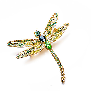 cheap Brooches-Women's AAA Cubic Zirconia Brooches Classic Dragonfly Ladies Artistic Luxury Classic Brooch Jewelry Green For Gift Evening Party