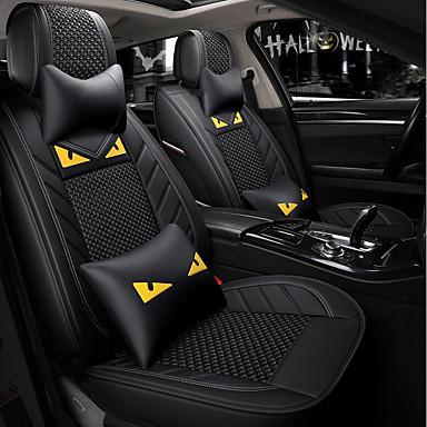 billige Interiørtilbehør til bilen-5 seter svart tegneserie bilsete med to nakkestøtter og to midjeputer / pu lær og issidemateriale / kollisjonspute / airbag / justerbar og avtakbar / fire sesonger universal