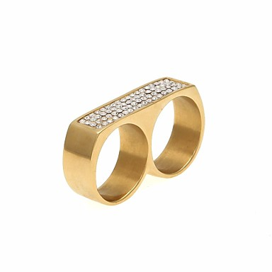levne Pánské šperky-Pánské Prsten na více prstů Kubický zirkon 1ks Zlatá Stříbrná Nerezové Geometric Shape Geometrik Moderní Nadsázka Street Klub Šperky Stylové Cool