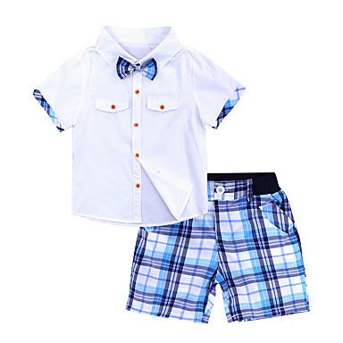 povoljno Odjeća za dječake-Djeca Dječaci Vintage Aktivan Dnevno Škola Tigrasto Kolaž Rupica Kratkih rukava Regularna Normalne dužine Pamuk Komplet odjeće Obala