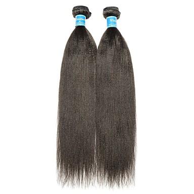 povoljno Ekstenzije od ljudske kose-2 Paketi Kinky Ravno Virgin kosa Ljudske kose plete 8-28 inch Natural Isprepliće ljudske kose Najbolja kvaliteta 100% Djevica Proširenja ljudske kose / 10A