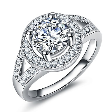 billige Motering-Dame Ring Løftering Micro Pave Ring 1pc Sølv Messing Platin Belagt Fuskediamant Sirkelformet Fire tenger damer Luksus Romantikk Bryllup Fest Smykker Elegant HALO Øyne Ball Kul