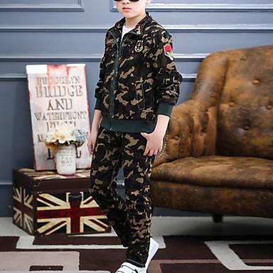 povoljno Kompletići za dječake-Djeca Dječaci Osnovni Jednobojni Dugih rukava Komplet odjeće Vojska Green