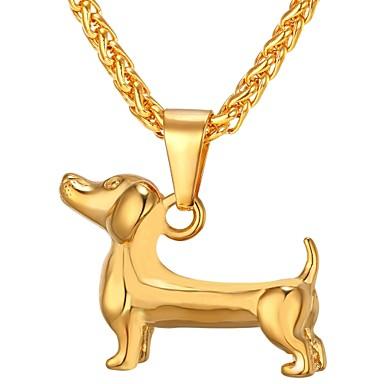 voordelige Herensieraden-Heren Hangertjes ketting Stijlvol Honden modieus Modieus Hip Hop Roestvast staal Goud Zwart Zilver 55 cm Kettingen Sieraden 1pc Voor Lahja Dagelijks