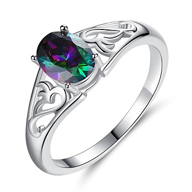 cheap Rings-Women's Ring Cubic Zirconia 1pc Rainbow Platinum Plated White Gold Oval Ladies Birthday Gift Jewelry Stack Solitaire Cocktail Ring