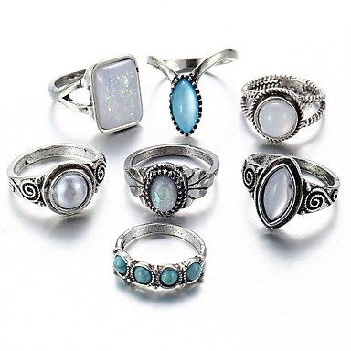 cheap Rings-Women's Ring Set Midi Rings Stackable Rings Opal Turquoise Moonstone 7pcs Silver Alloy Geometric Ladies European Elizabeth Locke Daily Jewelry Mismatched Drop Cool