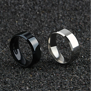 cheap Rings-Men's Couple Rings Band Ring Ring 1pc Gold Black Silver Titanium Steel Circular Simple Romantic Korean Daily Festival Jewelry Hollow Blessed Faith