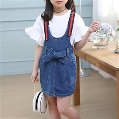 preiswerte Sommerkleidersets für Mädchen-Baby Mädchen Grundlegend Solide Kurzarm Kleidungs Set Blau