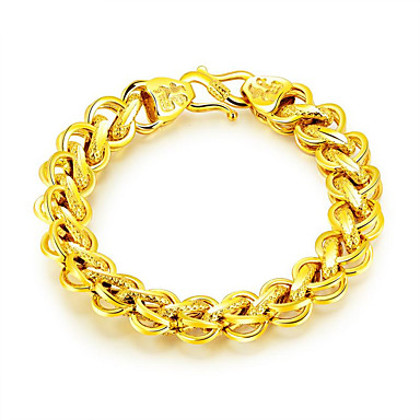 cheap Bracelets-Men's Chain Bracelet Bracelet Bangles Handmade Link Bracelet Link / Chain Statement Luxury Fashion Stainless Steel Bracelet Jewelry Gold For Gift New Year / Gold Plated