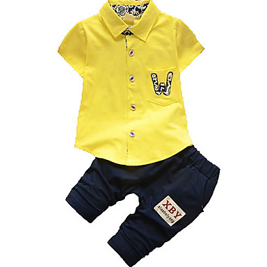 povoljno Kompletići za dječake-Dijete koje je tek prohodalo Dječaci Osnovni Jednobojni Kratkih rukava Komplet odjeće Obala
